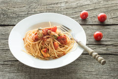 Spaghetti with tomatoes and mussels Royalty Free Stock Photo