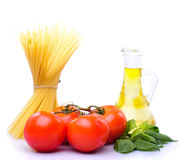 Spaghetti with tomatoes, olive oil Stock Photo