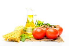Spaghetti with tomatoes, olive oil Stock Photography