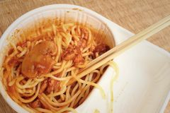Spaghetti with tomatoes sauce in lunch box. Stock Photos