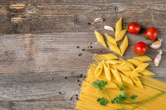 Spaghetti and spices, additional textspace left, topview stock photos