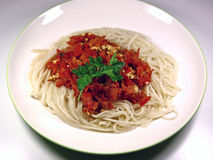 Spaghetti with tomatoes Royalty Free Stock Photography