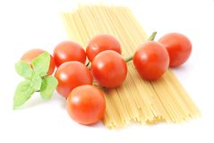 Spaghetti with tomatos and basilikum Royalty Free Stock Photography