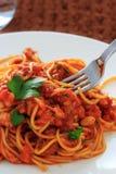 Spaghetti tomatosauce Zdjęcie Stock