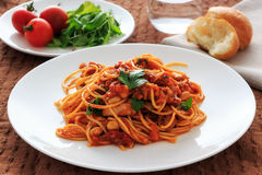 Spaghetti tomatosauce obraz stock