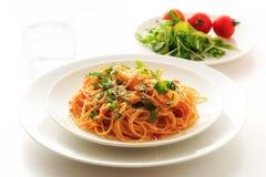 Spaghetti tomatosauce Stock Images