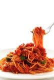 Spaghetti tomatosauce Stock Photos