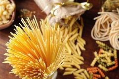 Spaghetti top view with different kinds of pasta background Stock Photos