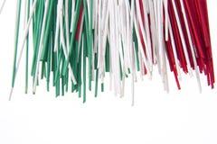 Spaghetti tricolores Images stock