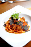 Spaghetti truffle and meatballs Stock Image