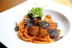 Spaghetti truffle and meatballs Stock Photos