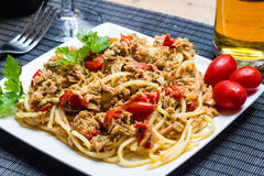 Spaghetti with tuna Stock Photo