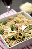 Spaghetti with tuna and broccoli. Delicious healthy spaghetti with tuna and broccoli , olive pasta and parmesan Royalty Free Stock Photo