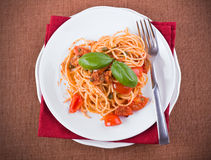 Spaghetti with tuna, cherry tomatoes and capers. Royalty Free Stock Photo