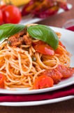 Spaghetti with tuna, cherry tomatoes and capers. Royalty Free Stock Photography