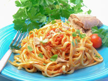 Spaghetti with tuna fish Royalty Free Stock Images