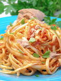 Spaghetti with tuna fish Stock Images