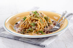Spaghetti with tuna and olive Stock Photography