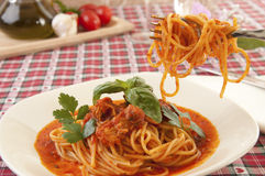 Spaghetti with tuna sauce Royalty Free Stock Photos