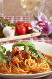 Spaghetti with tuna sauce Royalty Free Stock Images