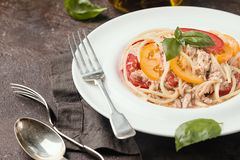 Spaghetti with tuna and tomatoes Royalty Free Stock Photos