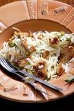 Spaghetti with turkey meat. And pesto Stock Image