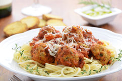 Spaghetti with turkey meatballs Royalty Free Stock Image