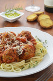 Spaghetti with turkey meatballs Royalty Free Stock Photo