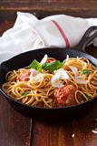 Spaghetti with turkey meatballs Royalty Free Stock Images