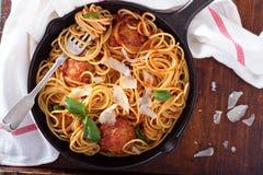 Spaghetti with turkey meatballs royalty free stock photos