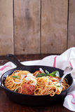 Spaghetti with turkey meatballs Stock Images