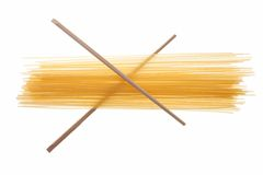 Spaghetti  two chopsticks, isolated on a white Stock Image