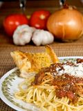Spaghetti-u. Fleisch-Soße lizenzfreies stockbild