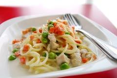 Spaghetti variopinti della besciamella Fotografia Stock Libera da Diritti