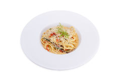 Spaghetti  with  vegetable and cheese. Isolated on white Royalty Free Stock Photo