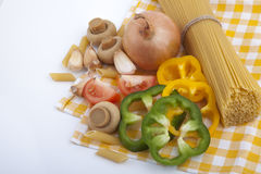 Spaghetti and vegetable  ingredients for cooking Stock Images