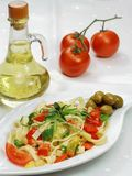 Spaghetti with vegetable, olives, tomato Royalty Free Stock Photos