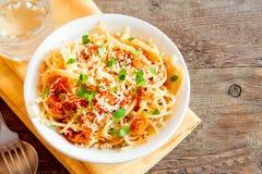Spaghetti with vegetable sauce Stock Photos
