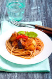 Spaghetti with vegetable stew Stock Images