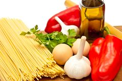 Spaghetti and vegetables Royalty Free Stock Photo