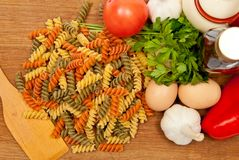 Spaghetti and vegetables Stock Images