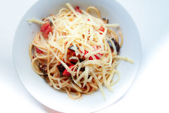 Spaghetti with vegetables and cheese Royalty Free Stock Photo