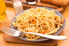Spaghetti with vegetables cooked Royalty Free Stock Photography