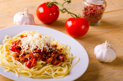 Spaghetti with vegetables and meat Royalty Free Stock Photography