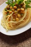 Spaghetti with vegetables and parsley Royalty Free Stock Image