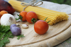 Spaghetti and vegetables Royalty Free Stock Images