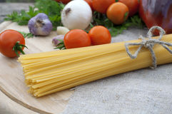 Spaghetti with vegetables Stock Images