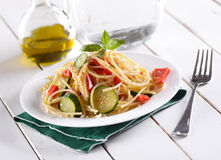Spaghetti with vegetables Stock Image