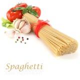 Spaghetti vertical on white table Stock Photos