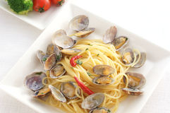 Spaghetti vongole. Pasta with clam Royalty Free Stock Photography